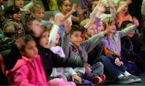 "Al Hartmann  |  The Salt Lake Tribune Salt Lake Acting Company welcomes school children including those from Title 1 schools many of whom haven't had the opportunity to attend a live arts performance to a matinee for ""Art Dog,"" the company's annual kids show based on the popular childrens book."