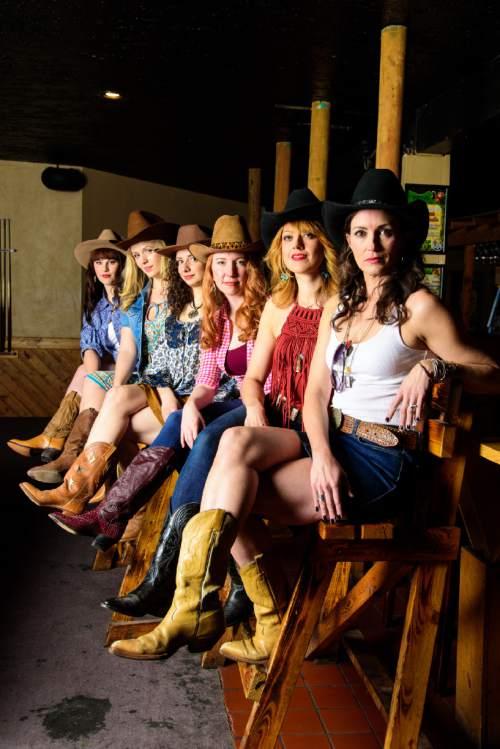 "Courtesy photo   Angela Chatelain Avila (Mary Lou),from left, Ashlie Roberson (Mo), Lindsay Zaroogian (Rita), Jessica Bradish (Lee), Karia Danish (Mickey) and Leenya Rideout (Jo) perform in Pioneer Theatre Company's ""Cowgirls."""