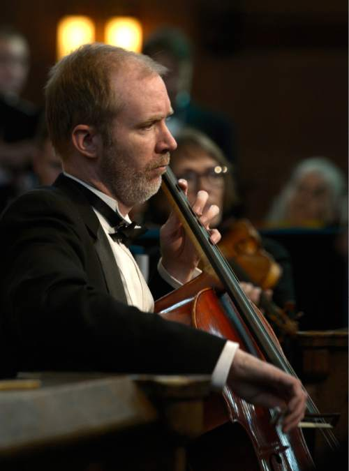 Leah Hogsten  |  The Salt Lake Tribune Cellist Craig Trompeter. American Festival Chorus presents St. Matthew Passion, by Johann Sebastian Bach, March 26, 2016 at The Cathedral of the Madeleine.  Bach wrote his St. Matthew Passion for a single purpose -- to present the Passion story in music at Good Friday vesper services. Bach's Passion retells the story of the events leading up to Jesus' crucifixion, dividing the music into two parts, first, the last supper and second, the betrayal and arrest of Jesus.