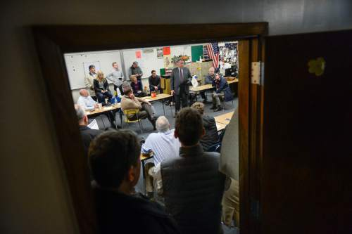 Francisco Kjolseth | The Salt Lake Tribune People crowd into GOP caucus meetings at Cottonwood High School on Tuesday night, March 22, 2016.
