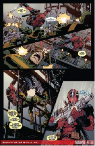 "A page from ""Cable and Deadpool: Split Second,"" written by Fabian Nicieza and drawn by Reilly Brown. Courtesy Marvel"