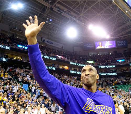 Lennie Mahler  |  The Salt Lake Tribune  Kobe Bryant waves to the fans before his last game at Vivint Smart Home Arena facing the Utah Jazz in Salt Lake City, Monday, March 28, 2016.