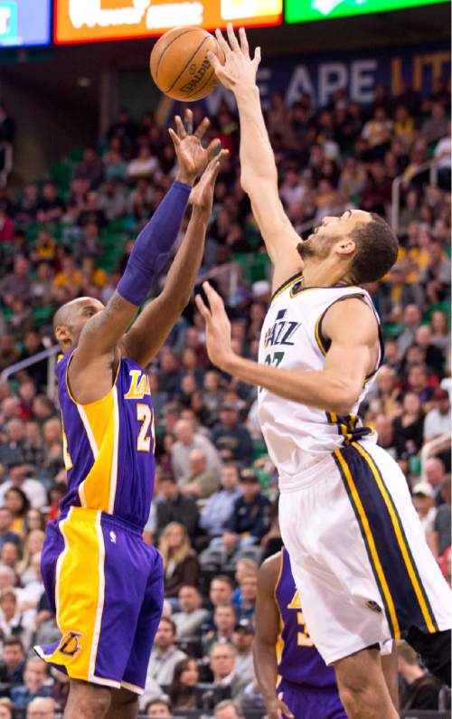 Lennie Mahler  |  The Salt Lake Tribune  Kobe Bryant is blocked by Rudy Gobert during a game at Vivint Smart Home Arena in Salt Lake City, Monday, March 28, 2016.
