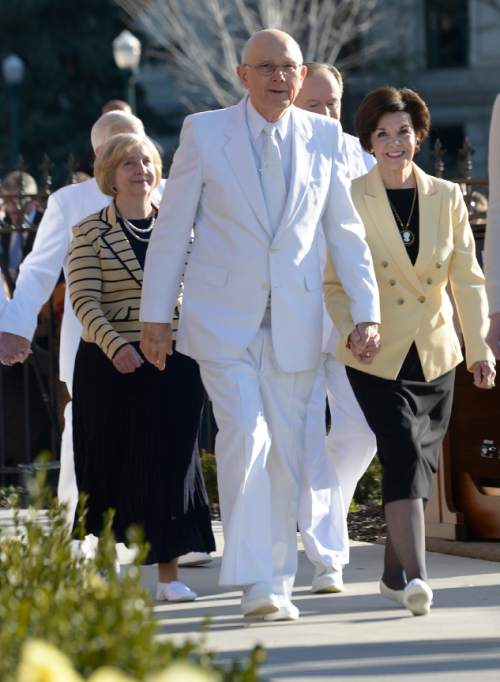 Leah Hogsten  |  The Salt Lake Tribune Elder Dallin H. Oaks of Quorum of the Twelve Apostles and his wife, Sister Kristen M. Oaks, and others at the Provo City Center Temple cornerstone ceremony. The Provo City Center Temple was dedicated Sunday, March 20, 2016. The Church's 112-year-old Provo Tabernacle burned in December 2010 and only the shell of the building was left. After the burned-out structure was gutted, Mormon leaders decided to use the building's exterior to house the temple.