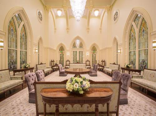 Photo courtesy The Church of Jesus Christ of Latter-day Saints  Colors and furnishings in the celestial room of the Provo City Center Temple remind visitors of past generations who worshipped here.