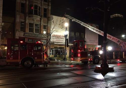 Photo courtesy of KUTV News  An early Tuesday morning fire in downtown Salt Lake Caity went to four alarms before being doused.