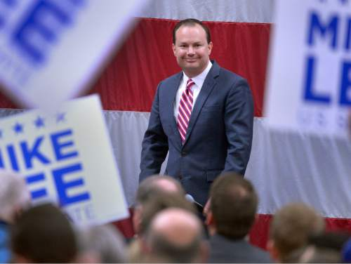 Leah Hogsten  |  The Salt Lake Tribune Utah Sen. Mike Lee, R-Utah addresses his supporters at the American Preparatory campus in Draper, Saturday, March 19, 2016. Republican presidential candidate Texas Sen. Ted Cruz, R-Texas, Carly Fiorina and Glenn Beck were also in attendance.