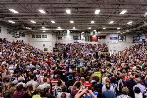 Trent Nelson  |  The Salt Lake Tribune Republican presidential candidate Ted Cruz speaks at Provo High School in Provo, Saturday March 19, 2016. Also appearing were Senator Mike Lee, Carly Fiorina and Glenn Beck.