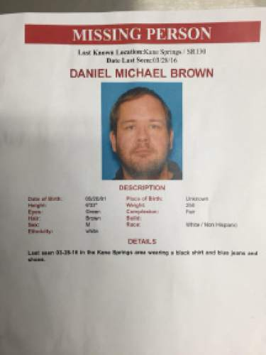 D.J. Bolerjack  |  KUTV  Searchers in Iron County are looking for Daniel Michael Brown, who was last seen Monday March 28, 2016.