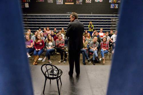 "Trent Nelson  |  The Salt Lake Tribune Rulon Stacey, a former CEO of the Fort Collins, Colo., hospital where Matthew Shepard was treated and died, spoke to students at Corner Canyon High School in Draper on Wednesday. The students will perform ""The Laramie Project"" in a statewide competition in April."