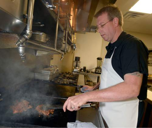 "Al Hartmann  |  The Salt Lake Tribune At Alamexo Mexican Kitchen in Salt Lake City, ""The bulk of our lunch menu is scaled-down versions of items from our dinner menu,"" says chef and owner Matthew Lake."" All of the enchiladas are featured on both menus. Also all of the tacos with the exception of the taco carnitas that we only feature at lunch."""