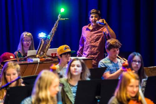 Chris Detrick  |  The Salt Lake Tribune Asa Turok performs with other students during their annual pops concert at Salt Lake Arts Academy Thursday March 31, 2016.
