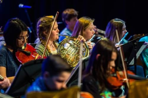 Chris Detrick  |  The Salt Lake Tribune Students perform during their annual pops concert at Salt Lake Arts Academy Thursday March 31, 2016.