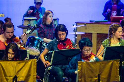 Chris Detrick  |  The Salt Lake Tribune Cristina Chirvasa performs with other students during their annual pops concert at Salt Lake Arts Academy Thursday March 31, 2016.