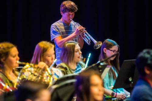 Chris Detrick  |  The Salt Lake Tribune Henry Hale performs with other students during their annual pops concert at Salt Lake Arts Academy Thursday March 31, 2016.