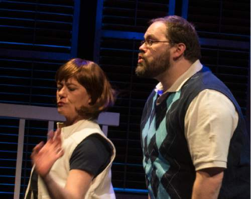 "Rick Egan  |  The Salt Lake Tribune  David Hanson and Jeanette Puhich perform in Plan-B's first original musical, ""Kingdom of Heaven."""