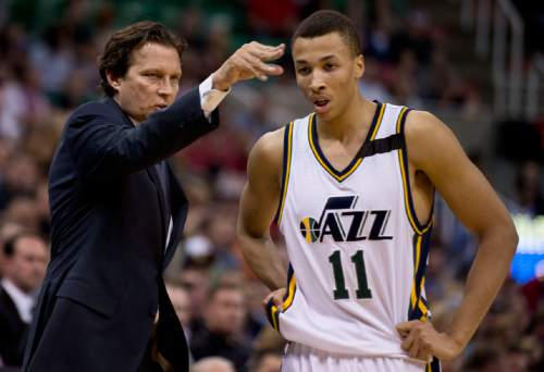 Lennie Mahler     The Salt Lake Tribune  Quin Snyder talks to Dante Exum in the first half as the Utah Jazz faced the Dallas Mavericks at EnergySolutions Arena on Monday, April 13, 2015.