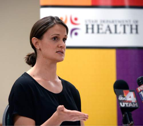 Al Hartmann  |  The Salt Lake Tribune  Angela Dunn, CDC epidemiologist stationed at the Utah Department of Health speaks at a news conference Monday April 4 about dozens of hepatitis C cases found in patients at two Ogden Hospitals.