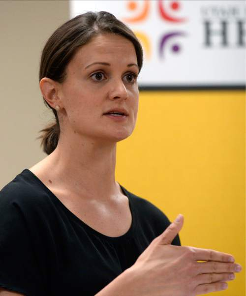 Al Hartmann  |  The Salt Lake Tribune  Dr. Angela Dunn, CDC epidemiologist stationed at the Utah Department of Health speaks at a news conference Monday April 4 about dozens of hepatitis C cases found in patients at two Ogden Hospitals.