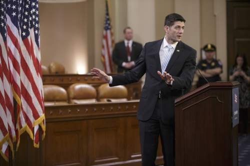 House Speaker Paul Ryan of Wis. speaks to congressional interns on the state of American politics and the changing tenor of the current political discourse in the presidential race, Wednesday, March 23, 2016, on Capitol Hill in Washington.   (AP Photo/J. Scott Applewhite)