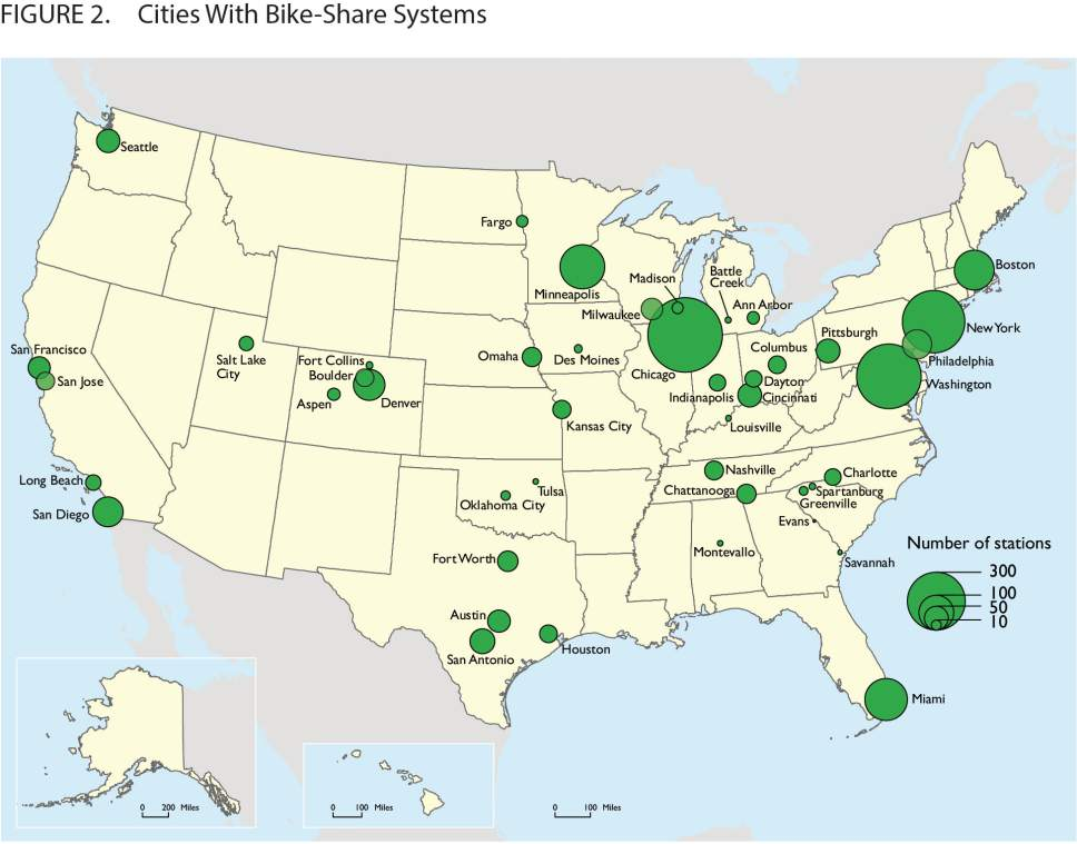 A map from the U.S. Bureau of Transportation Statistics showing ride-share programs nationally.