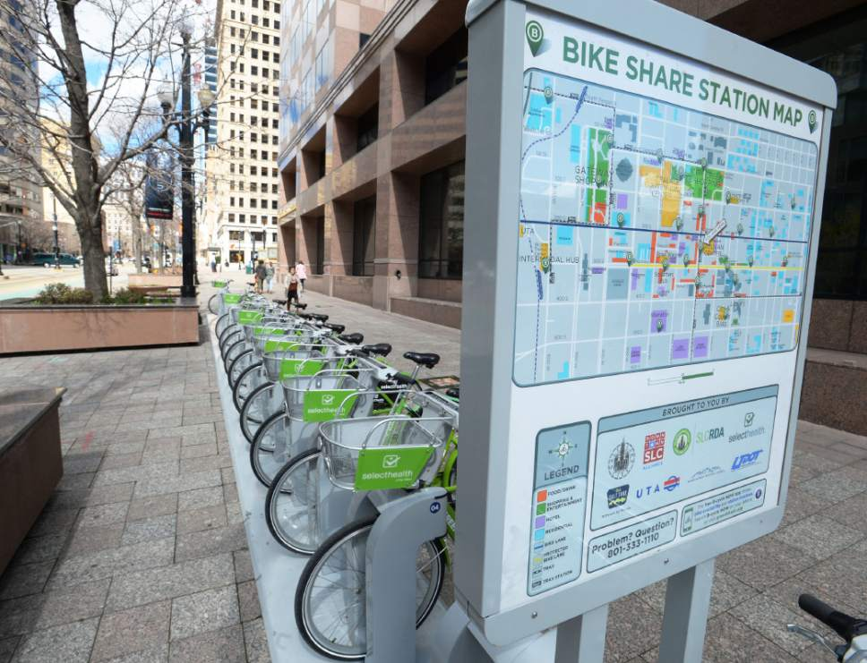 Steve Griffin  |  The Salt Lake Tribune   A GREENbike bike share station on Main Street in Salt Lake City, Thursday, March 17, 2016.  GREENbike is a public/private partnership between Salt Lake City, The Salt Lake Chamber of Commerce and the Salt Lake City Downtown Alliance.