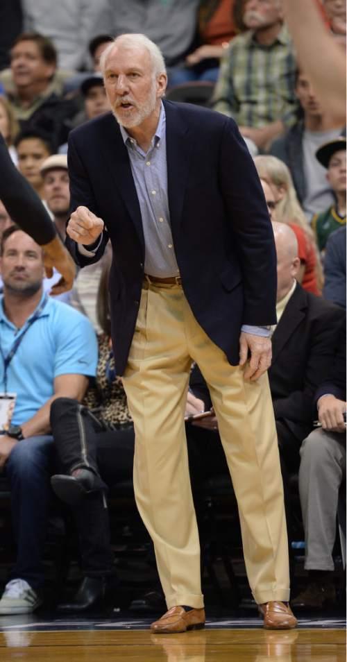 Steve Griffin  |  The Salt Lake Tribune   San Antonio Spurs head coach Gregg Popovich talks to his team during the Jazz versus Spurs NBA basketball game at Vivint Smart Home Arena in Salt Lake City, Tuesday, April 5, 2016.