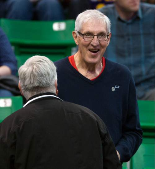 Steve Griffin  |  The Salt Lake Tribune Former Jazz head coach Jerry Sloan talks with friends before the Jazz versus Spurs NBA basketball game at Vivint Smart Home Arena in Salt Lake City, Tuesday, April 5, 2016.