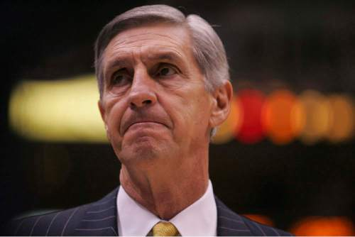 Trent Nelson  |  The Salt Lake Tribune   Jazz coach Jerry Sloan, coach during the game against the Detroit Pistons on November 13, 2004.