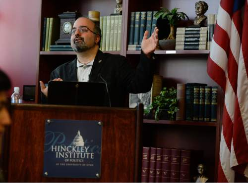 Francisco Kjolseth | The Salt Lake Tribune Professor Omid Safi, Director of the Islamic Studies Center at Duke University, leads a discussion at the University of Utah Hinckley School of Politics on Wed. April 6, 2016. The topic of discussion was America and Islam, peace and justice in and age of ISIS and Islamophobia.