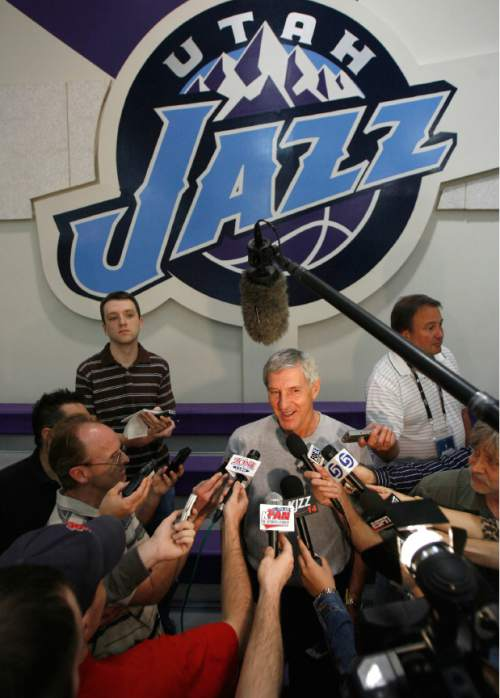 Francisco Kjolseth  |  The Salt Lake Tribune  Head coach of the Utah Jazz Jerry Sloan speaks with the media following the Friday May 25, 2007, practice session at the Zions Bank Basketball Center as they prepare for game 3 of the NBA playoffs.