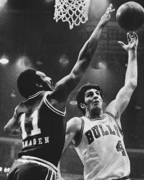 "Phil Mascione  |  Chicago Tribune Photo  Nicknamed ""The Original Bull,"" Jerry Sloan was in Chicago during the franchise's  first 10 years. His grit and toughness made him one of the league's best defensive players and is one of only 18 players in history to be named to the NBA's All-Defensive First Team four times. He averaged 14 points, 7.5 rebounds and 2.5 assists during his 11 season. Sloan is now one of the league's most respected coaches, having led the Utah Jazz to two NBA title games. April 18, 1975."
