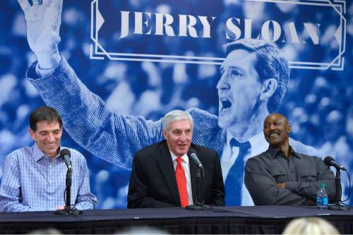 Scott Sommerdorf   |  The Salt Lake Tribune  John Stockton, left, and Karl Malone, right, laugh during a press conference to honor former Jazz coach Jerry Sloan as Sloan relates a story about their time together with the Jazz on Friday, Jan. 31, 2014.