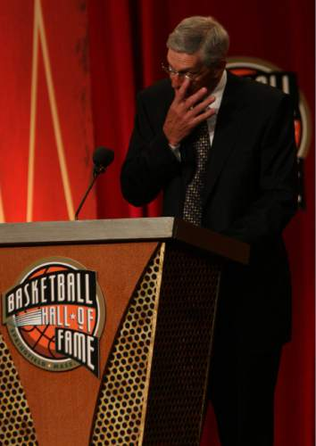 Leah Hogsten  |  The Salt Lake Tribune  Utah Jazz head coach Jerry Sloan delivers his induction speech. Utah Jazz head coach Jerry Sloan and Utah Jazz point guard John Stockton were inducted into the Naismith Basketball Hall of Fame on Friday in Springfield, Mass.