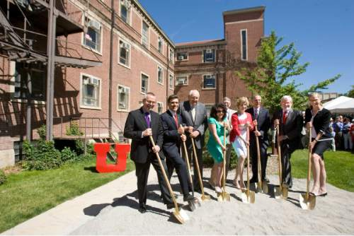 Paul Fraughton      Tribune file photo  Dignitaries stand in front of Carlson Hall on the University of Utah campus, the site of the new S.J. Quinney College of Law building, for the ceremonial ground breaking. From left to right: David King,principal architect; Hiram Chodosh, dean of Quinney College of Law; Elder Tom Perry, of the LDS Church; Adina Zahradnikova, CEO of The Disability Law Center; Myron Willson, U. of U. Office of Sustainability; Lori Nelson, president Utah State Bar; Robert Adler, law school interim dean; University of Utah President David Pershing and Vicki Baldwin, president College of Law Board of Trustees. Tuesday, June 4, 2013