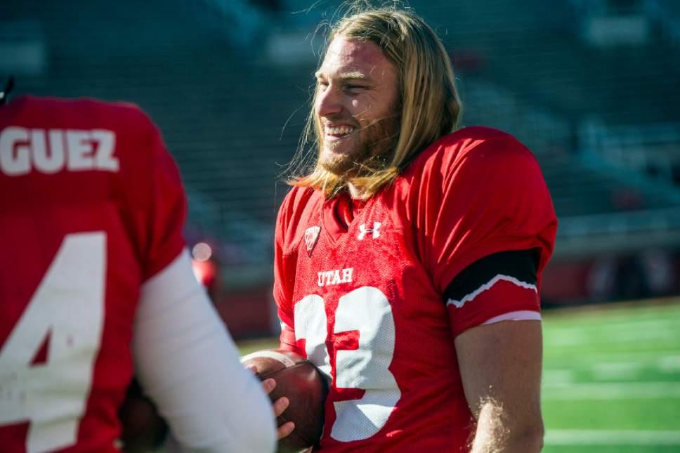 Chris Detrick  |  The Salt Lake Tribune Utes punter Mitch Wishnowsky (33) laughs during a practice at Rice-Eccles Stadium Tuesday April 5, 2016.