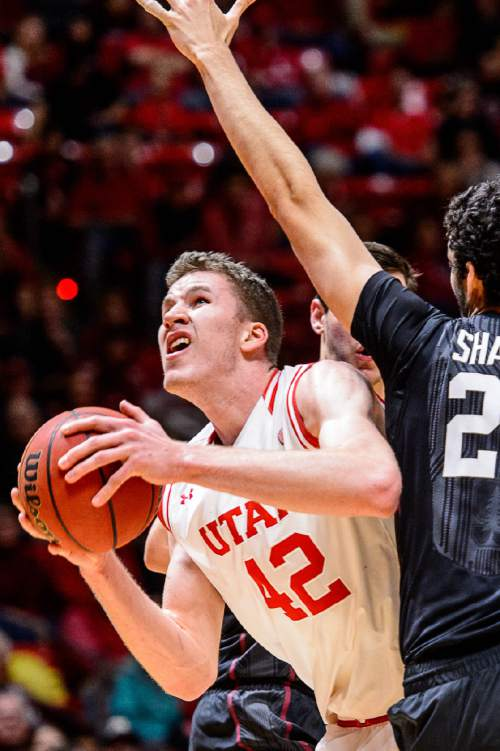 Trent Nelson  |  The Salt Lake Tribune Utah Utes forward Jakob Poeltl (42) looks to shoot with Stanford Cardinal center Josh Sharma (20) defending, as the University of Utah hosts Stanford, NCAA basketball at the Huntsman Center in Salt Lake City, Saturday January 30, 2016.
