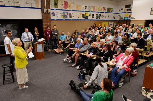 Trent Nelson  |  The Salt Lake Tribune Rep. Carol Spackman Moss speaks to delegates from House District 37 where she was challenged by Aubrey Lucas,,fourth from left, at the Salt Lake County Democratic Party convention at Cyprus High School in Magna on Saturday.