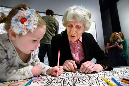 Scott Sommerdorf   |  The Salt Lake Tribune   Homeless advocate Pamela Atkinson, right, draws with three year old Hazel Beach. The Leonardo hosted a Weekend of Welcome, designed to support refugees and the organizations that help them make a successful transition into a new life, Saturday, April 9, 2016.