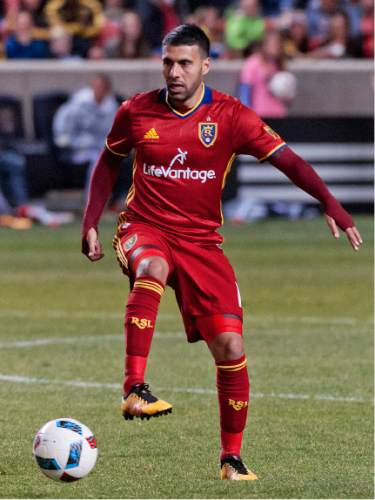 Michael Mangum  |  Special to the Tribune  Real Salt Lake midfielder Javier Morales (11) eyes the play downfield during their match against the Colorado Rapids at Rio Tinto Stadium in Sandy, UT on Saturday, April 9, 2016. RSL won 1-0.