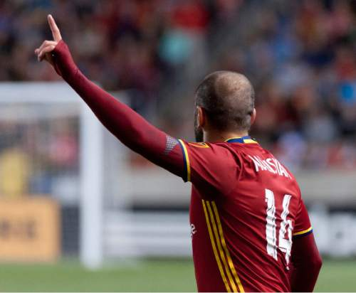 Michael Mangum  |  Special to the Tribune  Real Salt Lake forward Yura Movsisyan (14) calls for the ball during the second half their match against the Colorado Rapids at Rio Tinto Stadium in Sandy, UT on Saturday, April 9, 2016. RSL won 1-0.