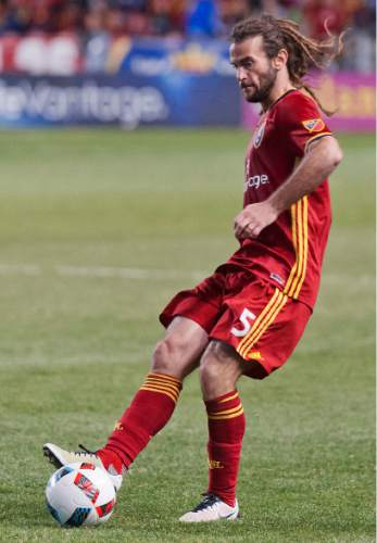 Michael Mangum  |  Special to the Tribune  Real Salt Lake midfielder Kyle Beckerman (5) makes a pass during their match against the Colorado Rapids at Rio Tinto Stadium in Sandy, UT on Saturday, April 9, 2016. RSL won 1-0.