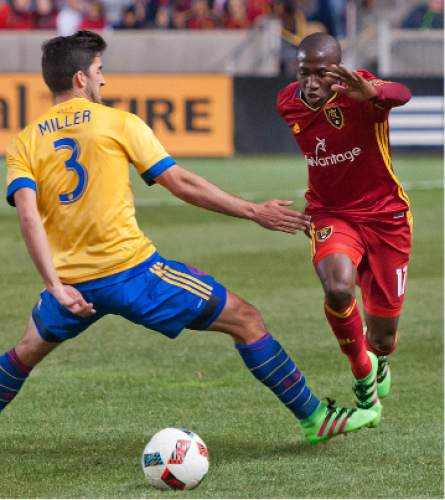 Michael Mangum  |  Special to the Tribune  Real Salt Lake defender Demar Phillips (17) is fouled by Colorado Rapids defender Eric Miller (3) on a breakaway during the second half their match at Rio Tinto Stadium in Sandy, UT on Saturday, April 9, 2016. RSL won 1-0.
