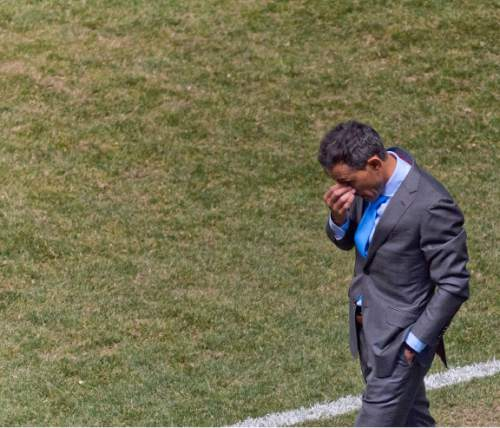 Michael Mangum  |  Special to the Tribune  Colorado Rapids head coach Pablo Mastroeni reacts following a play during the first half their match against Real Salt Lake at Rio Tinto Stadium in Sandy, UT on Saturday, April 9, 2016.