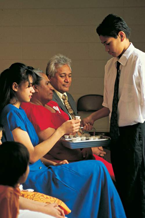 Courtesy  |   Intellectual Reserve, Inc.  Partaking of the sacrament is an essential part of Latter-day Saint Sunday worship.