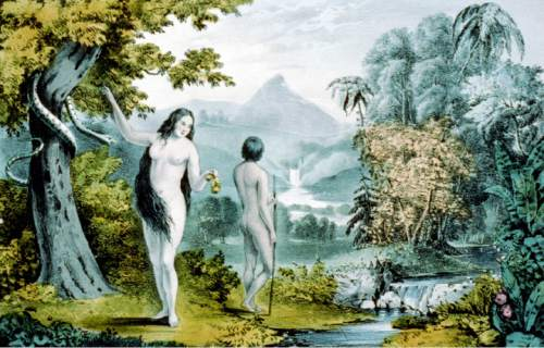 |  courtesy Library of Congress  1848 Currier & Ives print Adam and Eve in the Garden of Eden