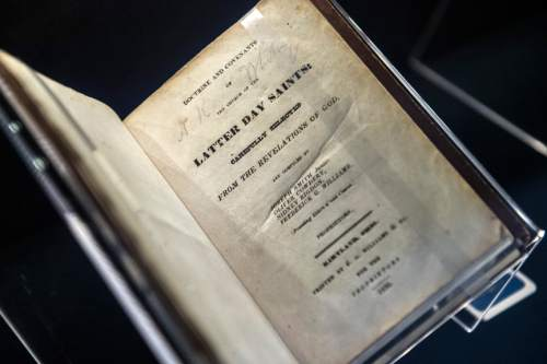 Chris Detrick  |  The Salt Lake Tribune The Doctrine and Covenants first edition from 1835 on display at the LDS Church History Library in 2014.