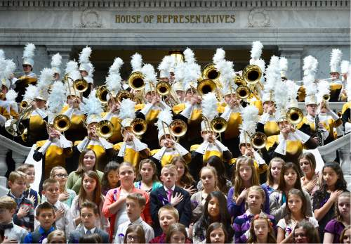 Scott Sommerdorf   |  The Salt Lake Tribune   The Davis High Marching Band plays the National Anthem just outside of the Utah House of Representatives, to kick off a National Association of Music Education event in the Capitol Rotunda, Wednesday, March 9, 2016.