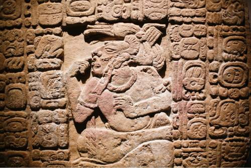 Monument 159, 600-900 AD, is displayed at the exhibition 'The Maya – Language of Beauty at the Martin-Gropius-Bau museum in Berlin, Monday, April 11, 2016. The exhibition will run from April 12. until August 7, 2016. (AP Photo/Markus Schreiber)