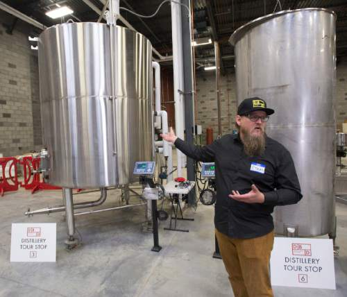 Rick Egan  |  The Salt Lake Tribune  Ethan Miller, the head distiller at Dented Brick in South Salt Lake, talks about how Antelope Island Rum is made. Friday, March 25, 2016.